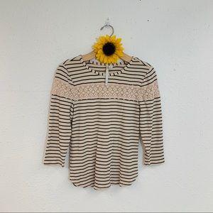 Lauren Conrad Striped Crochet Lace Top M